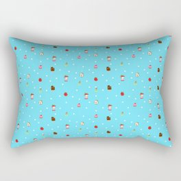 Sad Food by Squibble Design - Repeating Pattern on blue polka dot background Rectangular Pillow