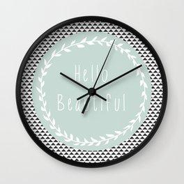 Hello Beautiful, Geometric, Quote, Modern, Home Decor Wall Clock