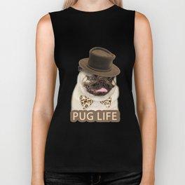 Dog pug with hat Biker Tank