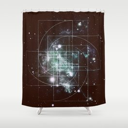 Galaxy Sacred Geometry: Golden Mean dark Shower Curtain
