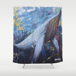 wind and waves grew calm Shower Curtain