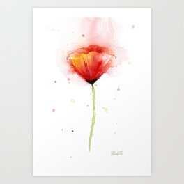 Red Poppy Flower Watercolor Abstract Poppies Floral Art Print