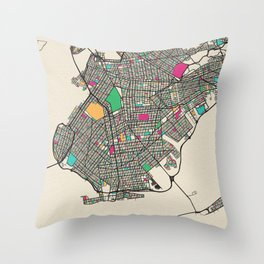 Colorful City Maps: Brooklyn, New York Throw Pillow