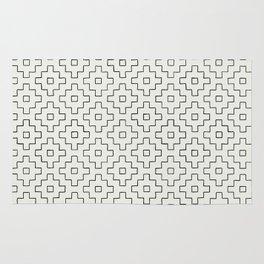 sashiko black and white Rug