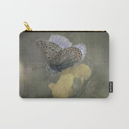 Blue butterfly on blossom Vintage Photography Carry-All Pouch