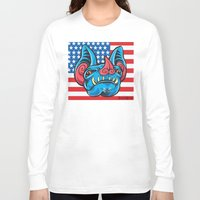 patriotic Long Sleeve T-shirts featuring Patriotic Bat by Madison Cowles