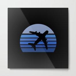 Blue Retro Airplane Metal Print