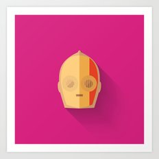 Red Stripped C3PO 2015 Flat Design Episode VII Art Print