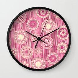 mandala cirque spot pink cream Wall Clock
