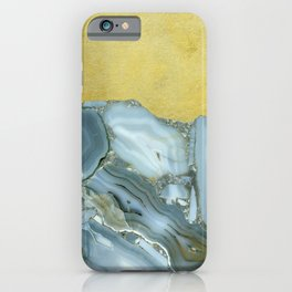 Marble Agate Slices Crystal Geode Abstract Boho Gold and Grey iPhone Case