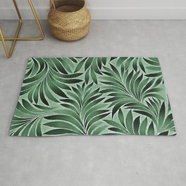 Graceful Leaves In Jade And Marine Green Shades Rug