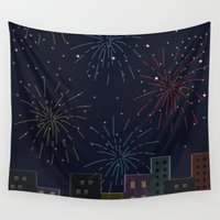 night sky Wall Tapestries featuring Night Sky by Suchita Isaac