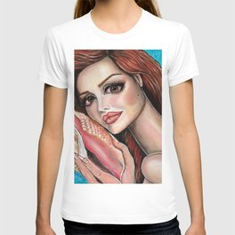 Listen by Laurie Leigh Mermaid Art T-shirt