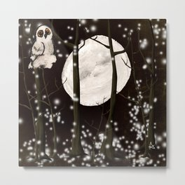 A SNOWY OWL NIGHT  Metal Print