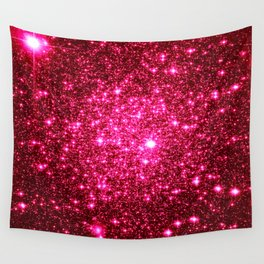 Hot Pink Glitter Galaxy Stars Wall Tapestry