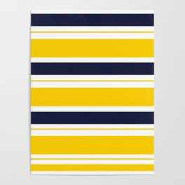 Yellow and Blue Horizontal Lines Stripes Poster