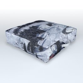 Mountain Winter Landscape Outdoor Floor Cushion