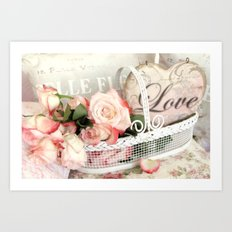 Shabby Chic Romantic Cottage Basket of Roses Love Heart Decor Art Print