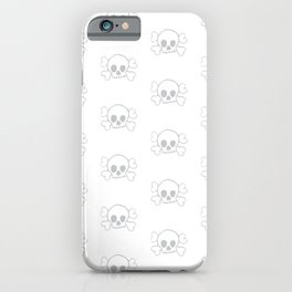 Light Grey Skull and Crossbones Pattern and Print iPhone Case