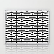Contemporary Black and White Split Ovals Pattern Laptop & iPad Skin
