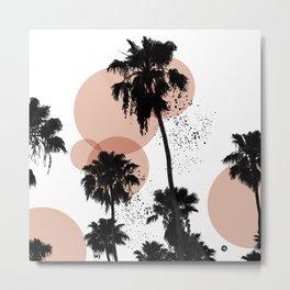 Black and White Palm Trees Metal Print