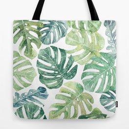 Tropical leaves Monstera leaves Jungle leaves Palm leaves Tote Bag