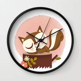 Sleeping Squrrel - Cute Animals Wall Clock