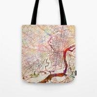 philadelphia Tote Bags featuring Philadelphia by MapMapMaps.Watercolors