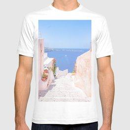 Santorini Greece Mamma Mia Pink Street T-shirt