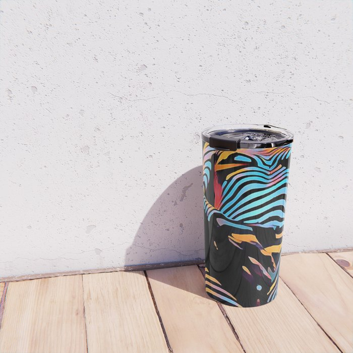 1813s-AK Zebra Striped Woman Hand on Pubis Rendered Composition Style by Chris Maher Travel Mug