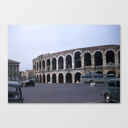 Vintage Color Photo * Verona Arena * Italy * 1950's * Antique Cars * Bus *Italian Canvas Print