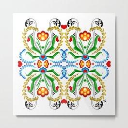 Scandinavian Folk Art ~ Tulip Mosaic Metal Print