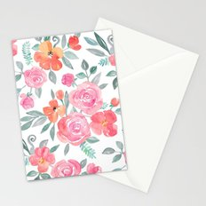 Amelia Floral in Pink and Peach Watercolor Stationery Cards