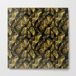 Golden Decorated Christmas Pattern 2 Metal Print