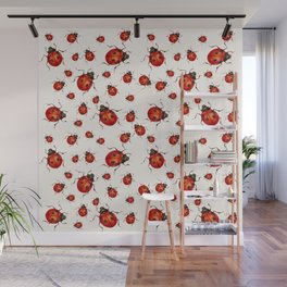 LOVING RED LADY BUGS  ON WHITE COLOR DESIGN ART Wall Mural