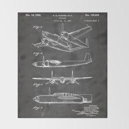 Hughes Lockheed Airplane Patent - Hughes Aviation Art - Black Chalkboard Throw Blanket
