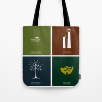 the lord of the rings Tote Bags featuring Lord of the Rings - Complete Minimalist Collection by Jamesy