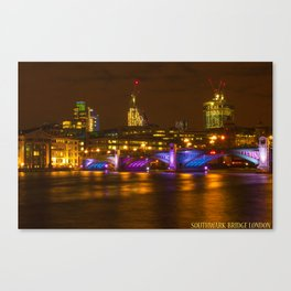 Southwark Bridge Lights up Canvas Print