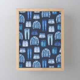 Denim Skirts, Jeans, Cutoff Shorts & Jean Jackets Framed Mini Art Print