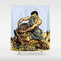 parks Shower Curtains featuring Ron Swanson Slaying A Lion  |  Parks and Recreation by Silvio Ledbetter