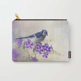 Blue Jay Perching on Blue Flowers watercolor painting Carry-All Pouch