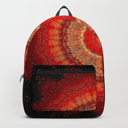 Vibrant Red Gold and black Mandala Backpack