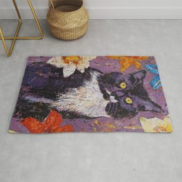 Cat with Tiger Lilies Rug