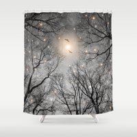 kubrick Shower Curtains featuring Nature Blazes Before Your Eyes 2 (Ash Embers) by soaring anchor designs