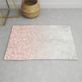 Blush Pink Sparkles on White and Gray Marble Rug