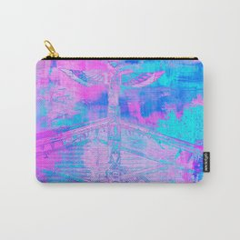Totem Cabin Abstract - Hot Pink & Turquoise Carry-All Pouch