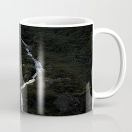 Dark forest with waterfall on the side of a mountain in Norway - Landscape Photography Coffee Mug