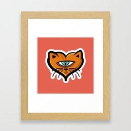 One eye cat heart Framed Art Print