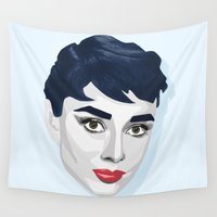 audrey hepburn Wall Tapestries featuring Audrey Hepburn by K I R A   S E I L E R