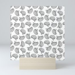 Brains - Black on White Mini Art Print